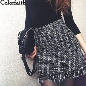 Women Woolen Mini Skirt Autumn Winter Vintage Straight Plaid Tassel Skater Skirt High Waist Femininas SK5583