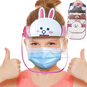 США Stock Kids Face Shield Регулируемая Полный Защитная маска для лица против Плевать Dust Proof Изоляция Visor детей Защитная крышка для лица