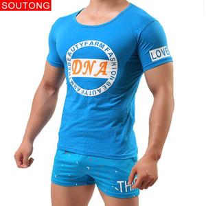 Los hombres del verano pijamas Homme Conjuntos de algodón suave cómodo pijama de manga corta masculina del sueño Pantalón corto Inicio ropa de dormir conjunto