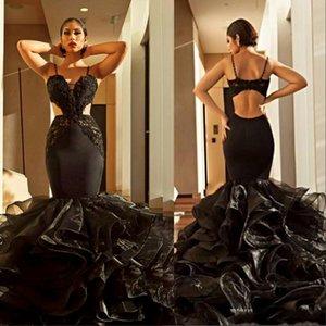 Seksi Siyah Mermaid Gelinlik Modelleri 2019 Yeni Tasarım Spagetti Sapanlar Kesit Taraf Abiye giyim Tül Ruffles Tren ile Kırmızı Halı Parti