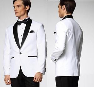 Blanca de la boda esmoquin para los hombres Hombre juego de la chaqueta y los pantalones esmoquin novio mejor juego del hombre del padrino de boda de los hombres (Jacket + Pants + Tie) DH6010