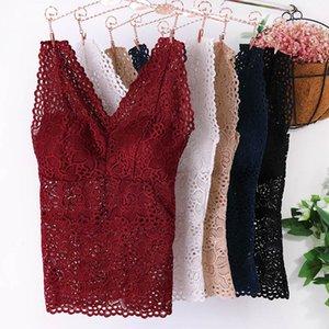 2019 New Fashion Women Floral Cami Padded Bra Tank Top Sexy Lace Cami Bralette Crochet Flower Bra Vest Women's Crop Top