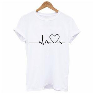 Moda 2019 nuevo gimnasio Primavera y verano Nueva moda Euro-americana Harajuku Heartbeat Lady Loose Camiseta de manga corta con cuello redondo Impreso