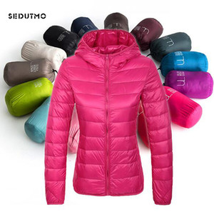 SEDUTMO 2018 Vestes d'hiver ultra léger Femmes Down court Plus Size 3XL duvet de canard manteau à capuchon Ursus Veste printemps Manteau ED029