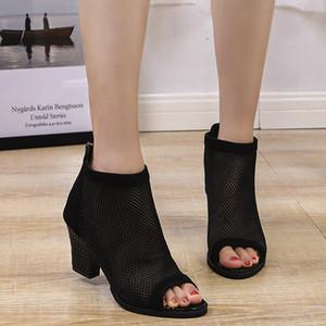 Eillysevens Mulheres esvaziamento Sandals Zipper Peep Toe Calçados Partido Mulheres elegantes sandálias Chaussure Femme Ete # g35