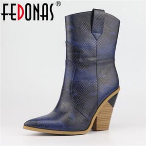 Fedonas nuevo de las mujeres de mitad de la pantorrilla botas de tacones altos de punta estrecha Noche partido del club mujer de los zapatos 2019 de Calidad de microfibra Botas de cuero