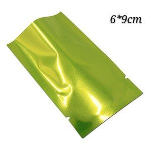 200 шт. лот 6 * 9 см зеленый open top heat seal mylar bag запах доказательство сухой мешок для хранения продуктов вакуумный пакет алюминиевый серебряный мешок