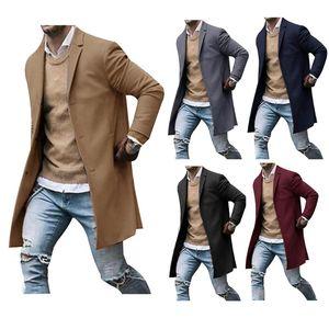 Men's Vests 2021 Autumn And Winter Woolen Coat 3XL Large Size Slim Long Trench Fashion Wild Jacket