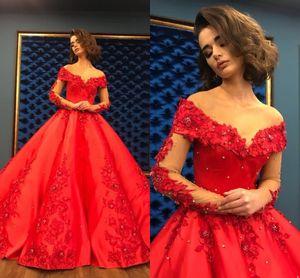 Kırmızı Balo Quinceanera Elbise 2020 Uzun Zarif Kadın Olay Parti Elbise Ağır Boncuklu Kristal Derin Uzun Kollu Tatlı 16 Elbiseler