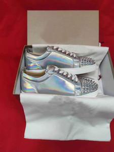Sliver Glitter Leder Junior Spikes Sneakers Spikes Red Bottom Frauen, Männer Nieten Beliebte Sommer-beiläufige Gehen Billig Verkauf EU35-47