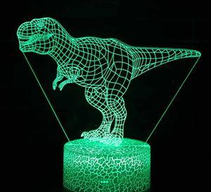 3D Dinozor Night Lights Dinozor Lovers Jurassic Tema parti dekor toptan için Optik Illusion lamba Masa Lambası Led