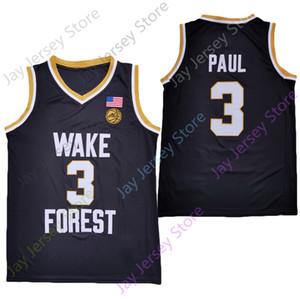 2020 New NCAA Wake Forest Dämon Diakone Jerseys 3 Chris Paul College Basketball Jersey Schwarz Größe Jugend Erwachsene