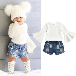 Pudcoco Kleinkind-Baby-Langarm-Tops + Jeans-Hosen-Outfit Sommer-Kleidung 6M-5Y