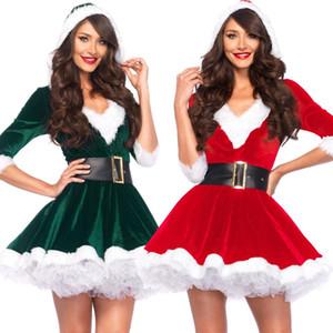 Costumes de Natal Womens vestido Belt Christmas Costumes Desempenho Vestidos Cosplay Dress Up Festival Roupa Jogo do Natal