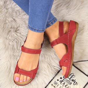 SHUJIN 2020 летние новые сандалии женщины плоские дамы удобные лодыжки полые круглый носок сандалии мягкая подошва Обувь Sandalias Mujer