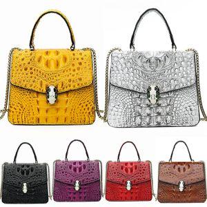 Designer-Zency Women Bag Made Of Genuine Leather Classic Black Crocodile Shoulder Bag High Quality Hobos Charm Lady Crossbody Bags Grey#252