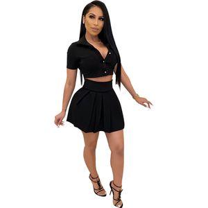 Женская рубашка Сплошной цвет Мода коротким рукавом + Мини Casual Beach Party Юбка Cute Short Two Piece Set
