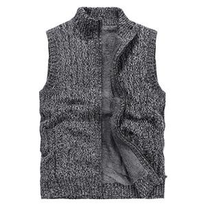Mens Jackets Knitting Vest collare del basamento Inoltre Celvet addensare maglione di colore solido Cardiga Retro tenere al caldo tuta sportiva di modo rivestimenti M-3XL