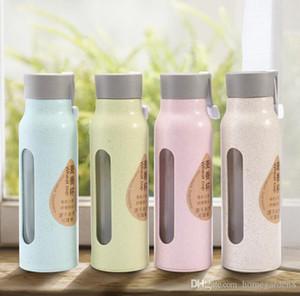 tasse de paille double eau de l'environnement de blé convivial de coupe de verre en matière plastique de blé peut être personnalisé tasse d'impression