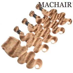 Мед блондинка 27# Оптовая 9a бразильский объемная волна прямые пучки волос с закрытием перуанский Индийский девственные волосы с закрытием кружева