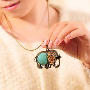 Bohemian Style Elegant Sweater Necklace Women's Vinrage Elegant Pendant turquoise Rhinstone Chains Necklace S227