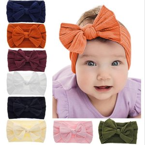 Baby Big Bow Headbands Soft Nylon Turban Hairband Oversize Bunny Ear Headwrap Baby Girl Head Wrap Accessories 8 Colors DW5113