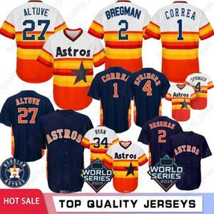 27 José Altuve Hombres jerseys del béisbol de 2 Alex Bregman 1 Carlos Correa 34 Nolan Ryan 4 George Springer 45 Gerrit Cole 2020 Nuevo
