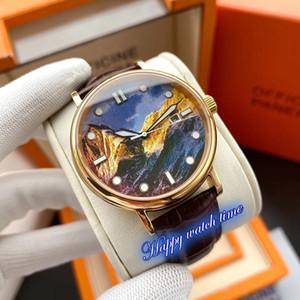 높은 버전 5538G-001 소중히 공예 로즈 골드 스틸 케이스 자동 기계 운동 남성 시계 블랙 가죽 스트랩 시계 다이얼