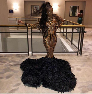 2020 lindo ouro e preto Prom Dresses Mermaid Africano mangas compridas lantejoulas Prom Vestidos Ruffled Feather Pageant Party Dress Robe De Soiree