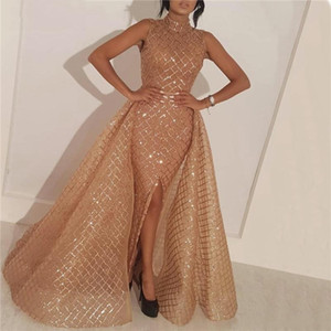 Middle East Champagne Evening Dress With Detachable Train Glitter High Neck Sequins Grid Formal Women Evening Dress Abendkleider
