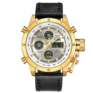 Oulm Sport Watches Men Top Brand Luxury Dual Display Waterproof Wristwatch Male Leather Luminous Hands Chronograph Watch 2020