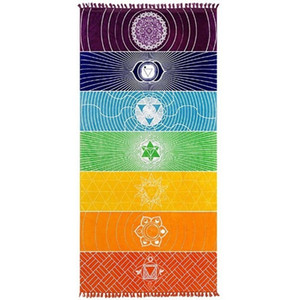 Rainbow Yoga Mat 75*150CM Stripes 7 Chakra Sarongs Home Tapestry Summer Wall Hanging Blanket Travel Shawl Beach Towel TTA1148-14