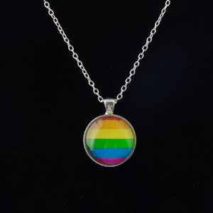 Мужчины Женщины Gay Pride Choker ожерелье Радуга флаг Лесбийская LGBT Love Is Любовь Pride стекла Подвески Ожерелья Уникальный ювелирные изделия