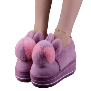 2019 Winter High-heeled Thick-soled Cotton Slippers Female Indoor Home Anti-skid Hair Ball Home Plush Warm Month Shoes