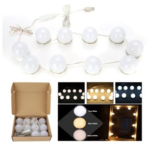 Mirror Vanity LED Light Bulbs Kits USB Charging Port Cosmetic Lighted Bulb Adjustable Make up Mirrors Brightness lights