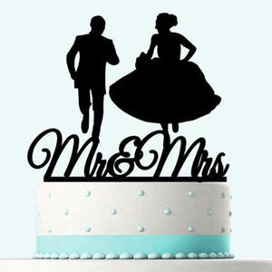 웨딩 케이크 카드 블랙 로맨틱 한 신부 신랑 케이크 삽입 장식 씨 부인 웨딩 파티 액세서리 HHA744