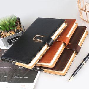 A5 سجل اجتماع المكاتب التجارية دفتر الجلود مشبك معدني المغناطيسي محاكاة دفتر ثلاثة ألوان الطالب كتابة مذكرات JXW202