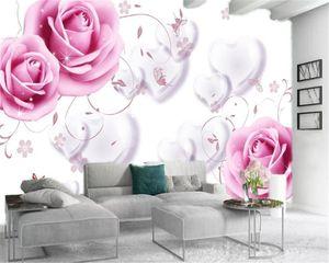 3d обои Гостиная Romantic Love Pink Roses на заказ Красивое HD интерьера обои