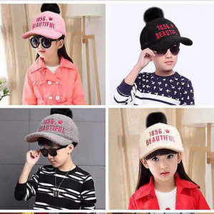 Child plush hat Baby Girls Boy Kids Winter Crown Wool Plush Hats Baseball Hat Cricket Cap