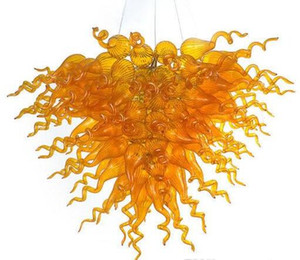 Art Design Amber Color Lampes Bouche Lustres Éclairage Éclairage Cristal Éclaivings de Chine LED Fixation de la lumière 100% en verre soufflé à 100%