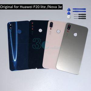 Huawei P20 라이트 백 배터리 커버 유리 도어 하우징 노바 3e 3M 접착제 카메라 유리 렌즈 교체 용 예비 부품