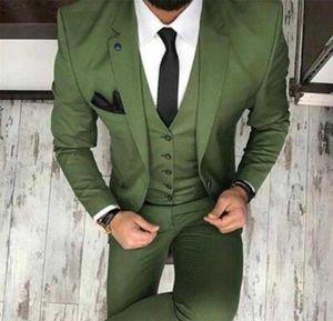 Nuevo 2019 Tux Oilve verde azul para hombre Traje de boda de 3 piezas Slim Fit Notch Blazer Classic Tuxedo Groomsmen para trajes de fiesta (Blazer + vest + Pants)