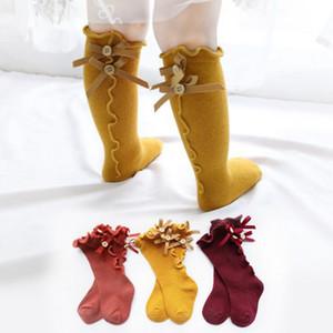 Çocuklar Prenses Stok Kız Kelebek Stringy Kenar Bebek Kız Pamuk Stoklar Bow Örme Diz Yüksek Çorap Çocuk Giyim CFYZ87Q
