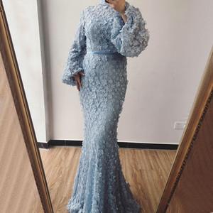 Flores de color azul claro Perlas Vestidos de noche de sirena Poeta Musulmán Mangas largas Cuello alto Vestidos de baile Vestido de fiesta formal largo Vestido