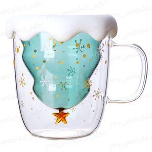 Coupe du verre d'arbre de Noël Tasse résistant à la chaleur double couche Bouteilles Lunettes Petit-déjeuner Gruau Cup Boire du lait personnalisé Tasses cadeau H011