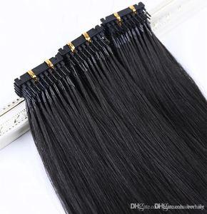 2019 أفضل مبيعات سعر مصنع 200g virgin Remy 0.5 g strand color # 1 100% Brazilian human hair 6d hair extensions