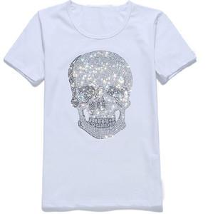 Padrão Womens Streetwear Mens Verão camisetas Mastermind Brilhante diamante do cristal de rocha camisetas Crânios do pescoço de grupo t-shirt de manga curta