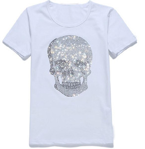 Мужские женщин Streetwear лето Tshirts вдохновителя Сияющий Алмазный Rhinestone Tshirts Skulls Pattern Crew Neck коротким рукавом футболки
