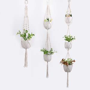 Gardening flower pot net bag Hand-woven plant hanging basket cotton rope hanging flower pot indoor and outdoor flower pot hanging rope