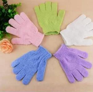 Esfoliantes Bath Luva Cinco dedos Banho Acessórios de nylon luvas de banhar-se banho fornece produtos LX1185 Atacado